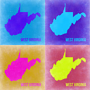 West Virginia Framed Prints - West Virginia Pop Art Map 2 Framed Print by Irina  March