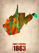 Modern Poster Metal Prints - West Virginia Watercolor Map Metal Print by Irina  March