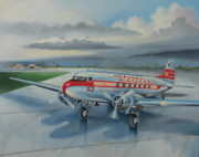 Antique Airplane Posters - Western Airlines DC-3 Poster by Stuart Swartz