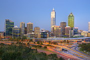 Western Australia Prints - Western Australia Perth Skyline at Twilight Print by Colin and Linda McKie
