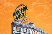 Plains Digital Art - Western Auto Sign Artistic Sky by Andee Photography