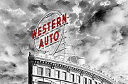 All - Western Auto Sign Downtown Kansas City B W by Andee Photography