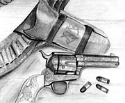 Cowboy Pencil Drawing Posters - Western Guns Poster by Michele Engling
