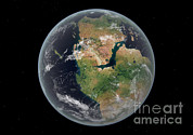 Merging Digital Art Prints - Western Hemisphere Of The Earth Print by Walter Myers