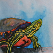 Shell Texture Painting Prints - Western Painted Turtle of Colorado Print by Beverley Harper Tinsley