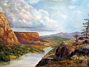 Lee Piper Art Prints - Western River Canyon Print by Lee Piper