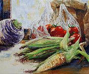 Corn Paintings - Western Style Cooking by Barbara Pommerenke