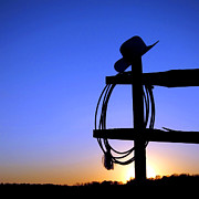 Cowboy Photos - Western Sunset by Olivier Le Queinec