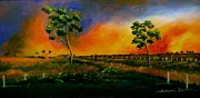 Fencing Paintings - Western Sunset by Sandra Sengstock-Miller
