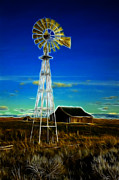 Old Heater Photo Posters - Western Windmill Poster by Steve McKinzie