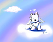 Westie Angel At Rainbow Bridge Print by Kim Niles