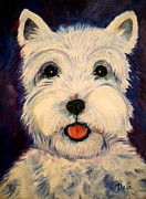 Dog Breeds Paintings - Westie by Debi Pople