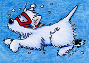 Terrier Dog Drawings Framed Prints - Westie Diver Framed Print by Kim Niles