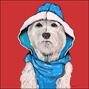 Westie Terrier Paintings - Westie in a Blue Slicker by Dale Moses