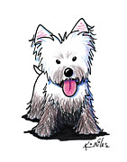 West Highland Drawings - Westie Muddy Westie by Kim Niles