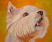 Scottie Portrait Paintings - Westie Portrait by Tracey Harrington-Simpson
