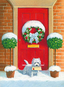 Domestic Scene Metal Prints - Westie Post Metal Print by David Price