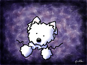 Kiniart Digital Art - Westie Purple Bliss by Kim Niles