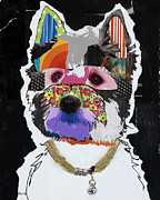 Pop Art Mixed Media Metal Prints - Westie West Highland Terrier  Metal Print by Michel  Keck