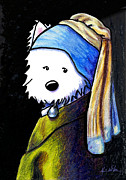 Terrier Dog Drawings Framed Prints - Westie With Pearl Earring Framed Print by Kim Niles