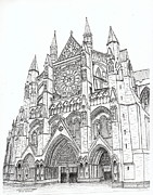 Historical Buildings Drawings Prints - Westminster Abbey London England Print by Brian Thompson