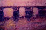 London Painting Originals - Westminster bridge in winter light by R W Goetting