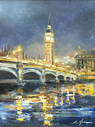 Night Lamp Painting Originals - Westminster Bridge by Luke Karcz