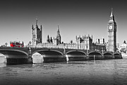 Colorkey Digital Art Metal Prints - Westminster Bridge Metal Print by Melanie Viola