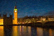 Impasto Photo Posters - Westminster Twilight Impasto Poster by Clarence Holmes