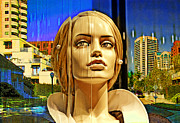 Beverly Hills Mixed Media Originals - Westwood Towers by Chuck Staley