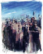 Central Park Mixed Media Prints - Wet City Print by Russell Pierce