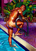 Naked Man Posters - Wet from the Pool Poster by Douglas Simonson