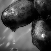 Raining Metal Prints - Wet Grapes Two Metal Print by Bob Orsillo
