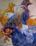 Cage Paintings - Wet Hens by Kris Parins