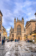 Listed Posters - Wet Morning At Bath Abbey Poster by Mark E Tisdale