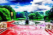 Bethesda Fountain Prints - Wet Paint - Dont Touch Print by Nishanth Gopinathan
