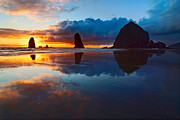 Jamie Pham Metal Prints - Wet Paint - Sunset in Oregon Metal Print by Jamie Pham