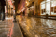 Paris In Lights Framed Prints - Wet Paris Street Framed Print by Matthew Bamberg