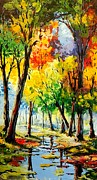Pallet Knife Prints - Wet Park Print by Evans Yegon