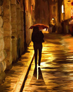 Umbrella Prints - Wet Rainy Night Print by Michael Pickett