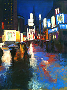 Umbrellas Pastels - Wet Reflections in NYC by Sandra Ortega