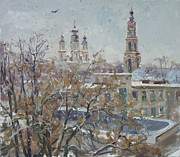 City Snow Prints - Wet snow Print by Victoria Kharchenko