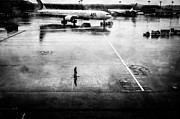 Taxiing Framed Prints - Wet Tarmac Framed Print by Dean Harte