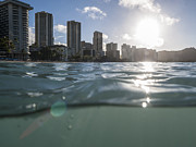Wet Waikiki Sunrise In Honolulu Hawaii Print by Trekkerimages Photography