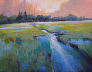 Blue And Green Paintings - Wetland by Melody Cleary