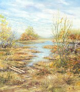 Colors Of Autumn Painting Posters - Wetlands Poster by Marie Veselska
