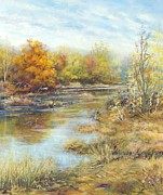 Colors Of Autumn Painting Posters - Wetlands2 Poster by Marie Veselska
