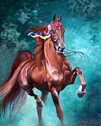 Equine Painting Framed Prints - WGC Courageous Lord Framed Print by Jeanne Newton Schoborg