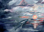 Ginette Callaway - Whale Jumping Ocean Sunset