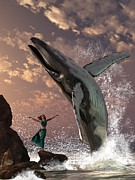 Whale Metal Prints - Whale Watcher Metal Print by Daniel Eskridge